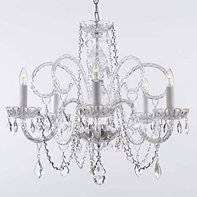 Chandelier Made with Swarovski Crystal Empire Victorian Chandelier H25 X W24 Swag Plug in-Chandelier W 14 Feet of Hanging Chain and Wire