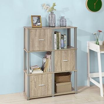 SoBuy® FRG223-N Regal Bücherregal Raumteiler mit 6 Fächern ...