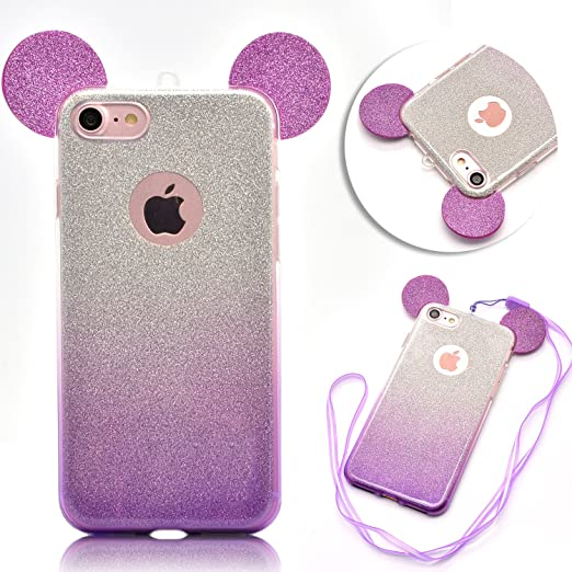 4 opinioni per iphone 6 cover ,iphone 6s cover, Vandot Glitter Bling Strass Back Cover Orecchie
