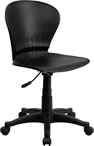 Flash Furniture Mid-Back Black Plastic Swivel Task Chair – RUT-A103-BK-GG