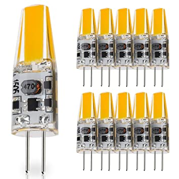 JAUHOFOGEI 10x 2W Mini Bombilla lámpara LED COB G4, 12-24V AC / 10-30V DC, Equivalente a 20W Halógena 210lm Blanco cálido 2700K, RA83: Amazon.es: Bricolaje ...