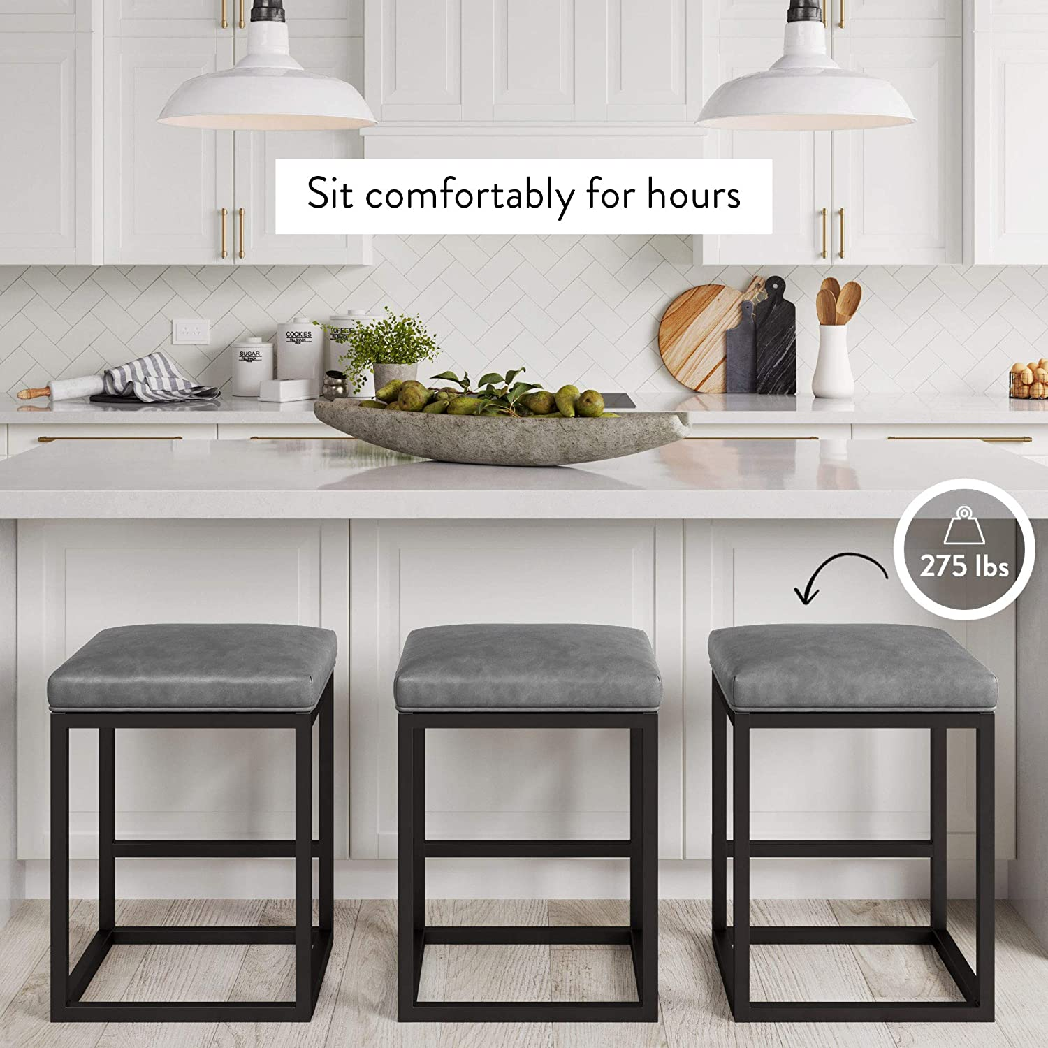 Gray Gold 24 Nathan James 22103 Nelson Bar Stool With Leather Cushion And Metal Base 24 Furniture Home Kitchen Stanoc Com