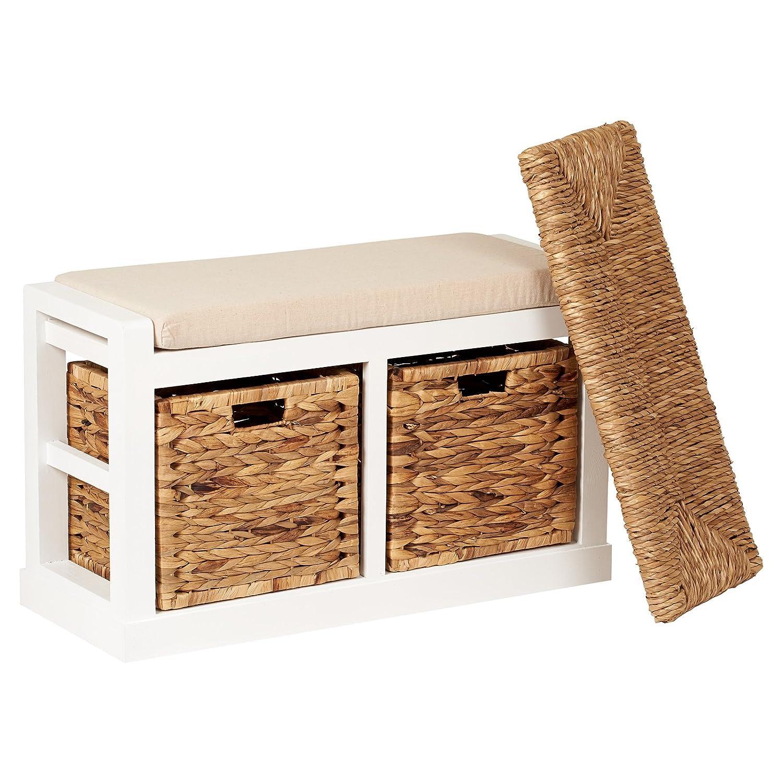 Hartleys 2 Drawer Storage Bench with Foam/Wicker Seat Cushion & Baskets