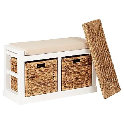 Terrific Hartleys 2 Drawer Storage Bench With Foam Wicker Seat Cushion Baskets Uwap Interior Chair Design Uwaporg