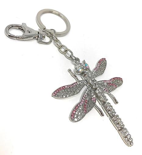 Plata Libélula llavero o bolso de mano joyas con cristales ...