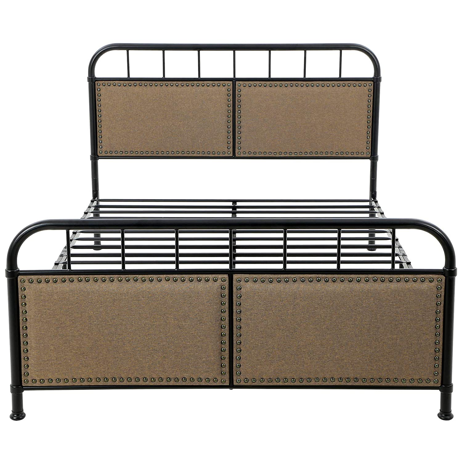 VASAGLE URMB024BE Metal Frame with Vintage Headboard Footboard, Upholstered Linen with Studs, No Box Spring Needed Platform, Under-Bed Storage, Industrial Style, Noise Free, Queen, Brown and Black