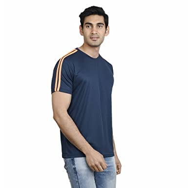 367bc81d7499 EPG Men s Dry Fit Polyester Round Neck T Shirt (Dark Blue, Small ...