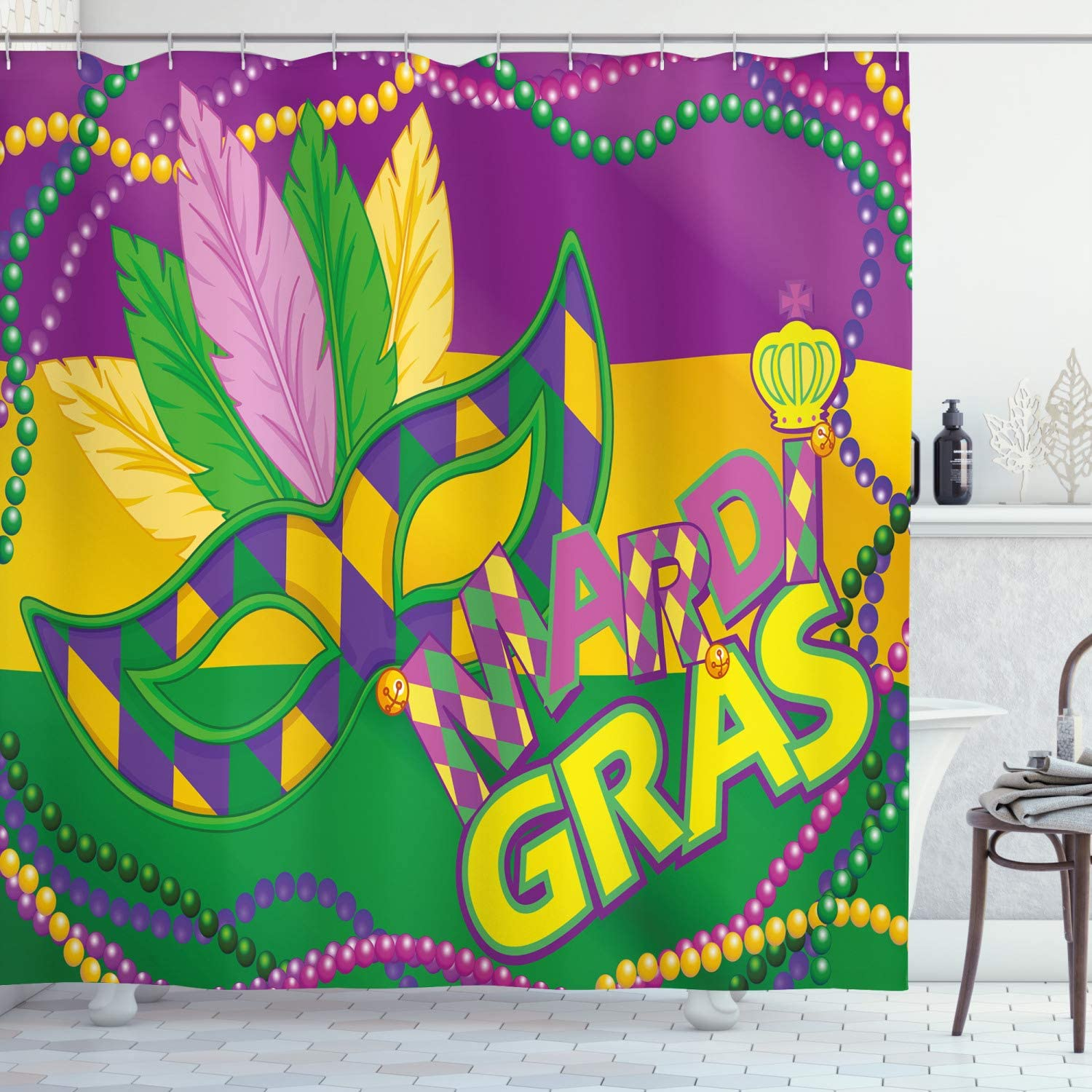 Ambesonne Mardi Gras Shower Curtain, Colorful Bands Vivid Beads Feathers and Crown, Cloth Fabric Bathroom Decor Set with Hooks, 70