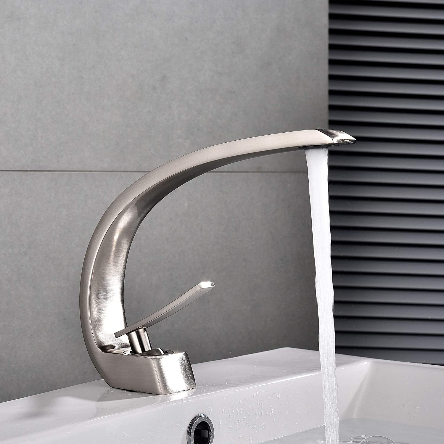 Brushed ZMHome Bathroom Countertop Basin Tap Copper Big Bend Single Handle Hot And Cold Water Basin Faucet,orange