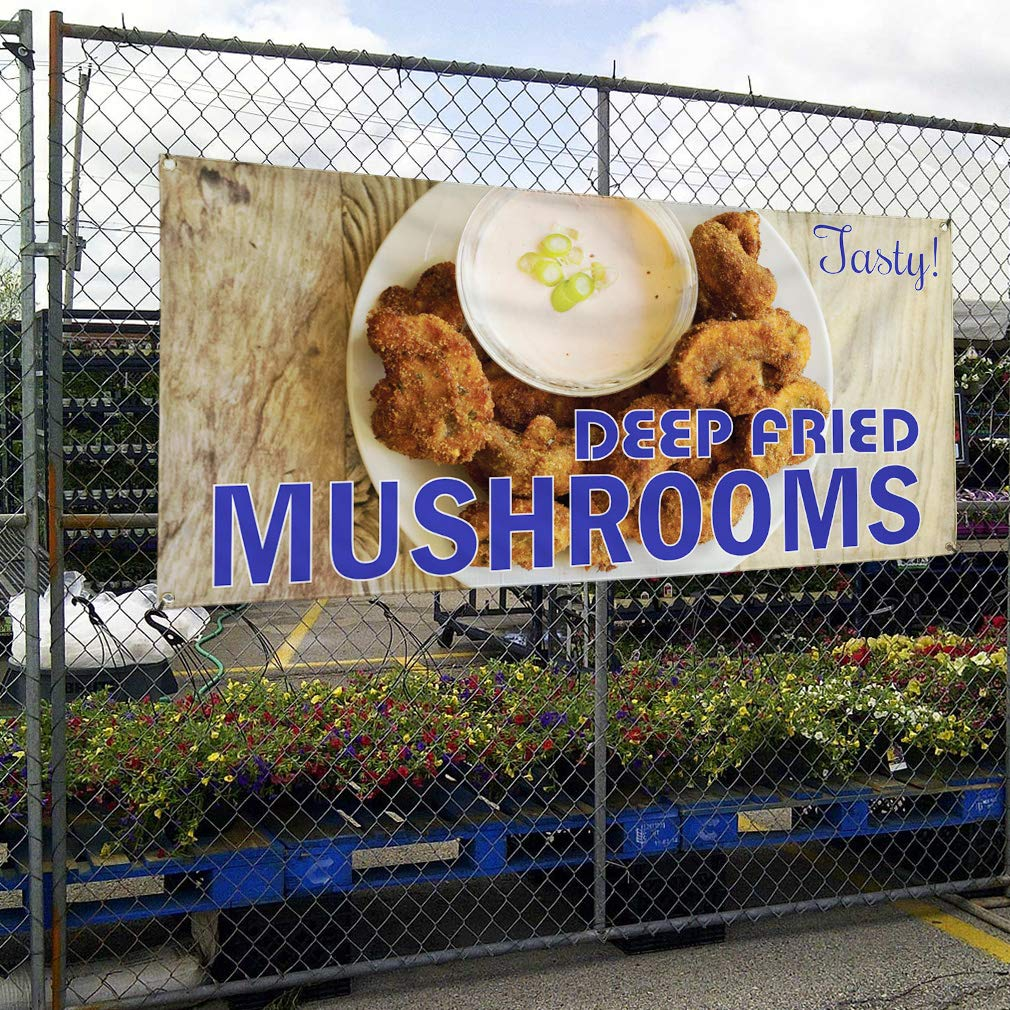 Deep Fried Mushrooms #1 Outdoor Marketing Advertising White Multiple Sizes Available Vinyl Banner Sign Tasty Set of 2 4 Grommets 28inx70in