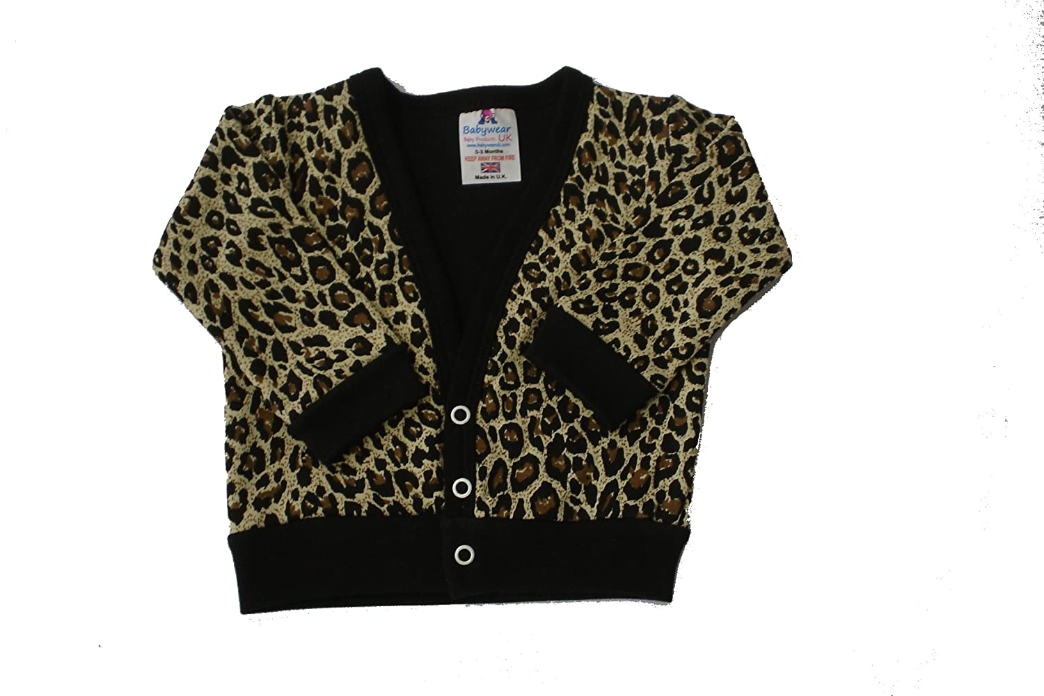 Amazon.com: Babywearuk British Made Leopard Print Baby Cardigan ...