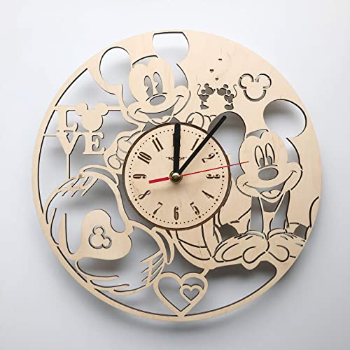 7ArtsStudio Mickey Mouse Wall Clock Made of Wood – Perfect and Beautifully Cut – Decorate Your Home with Modern Art – Unique Gift for Him and Her – Size 12 Inches