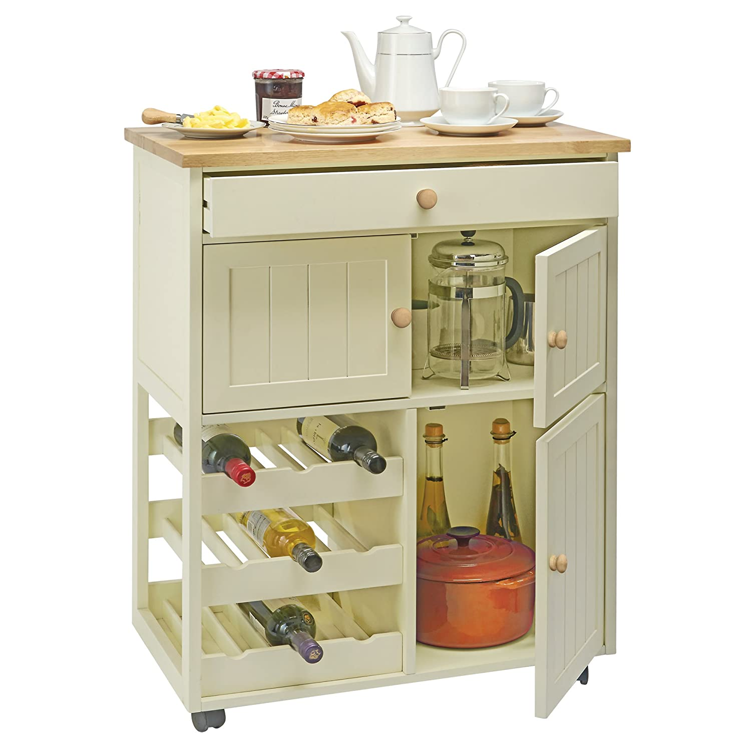 Traditional Buttermilk Multi Purpose Pantry Cabinet, Wooden Mobile Freestanding Storage Sideboard Cart with Wine Rack by Country Kitchen Clifford James