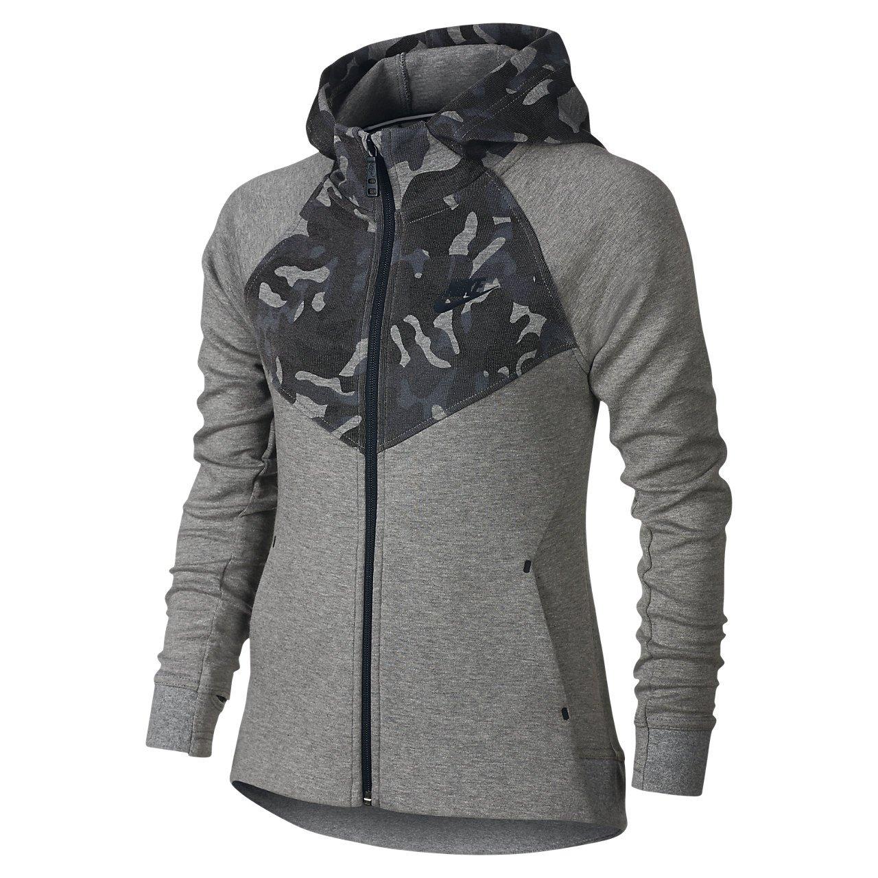 Nike Big Girls' (7-16) Tech Fleece Windrunner Full Zip Hoodie (X-Small, Carbon Heather/Black) by NIKE