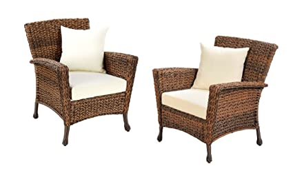 Merveilleux W Unlimited Rustic Collection 2 Piece Patio Chairs Outdoor Furniture Light  Brown Rattan Wicker Garden Patio