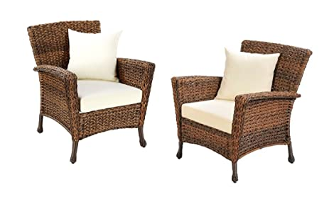 W Unlimited Rustic Collection 2 Piece Patio Chairs Outdoor Furniture Light  Brown Rattan Wicker Garden Patio