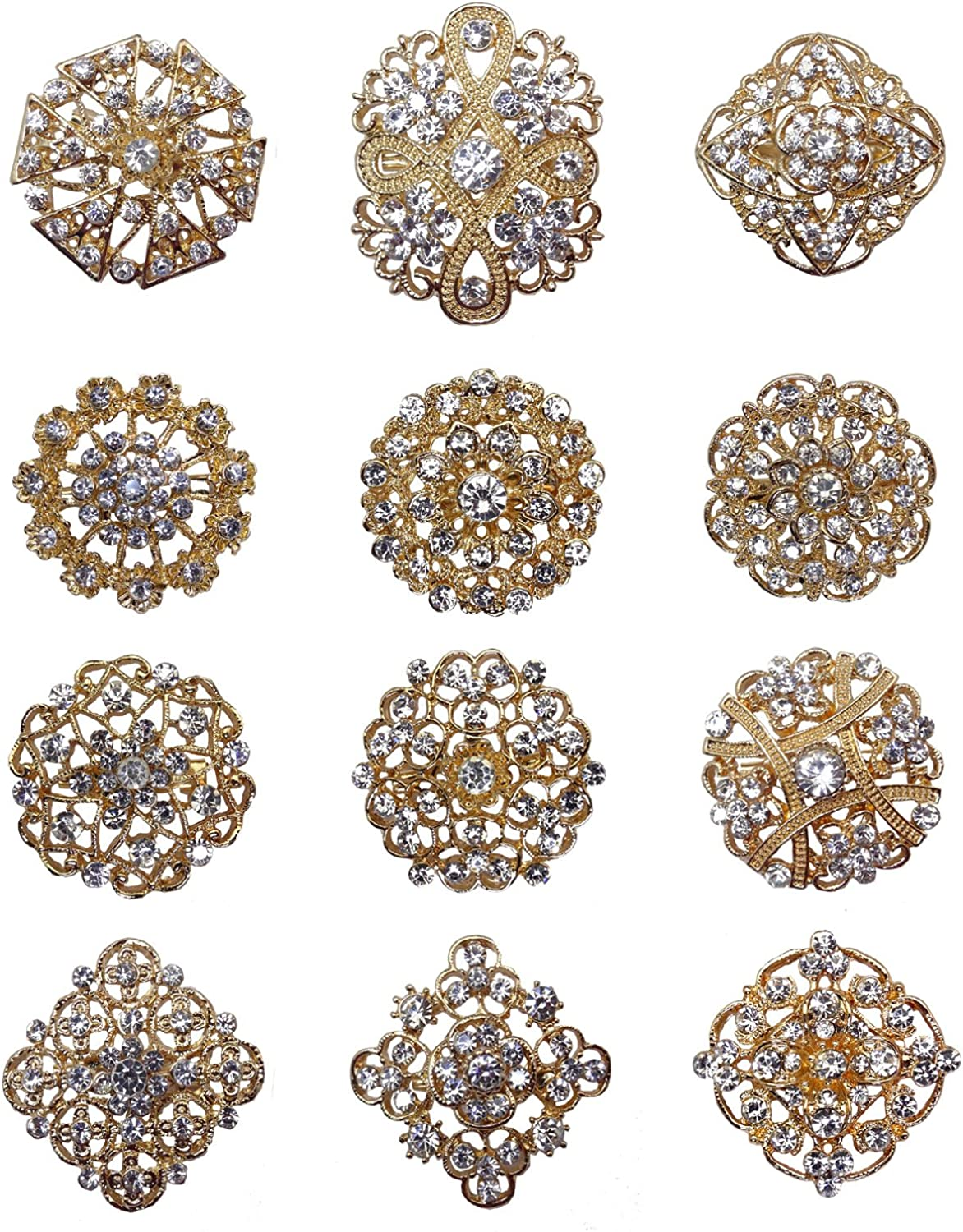 L'VOW 12px Silver Gold Plated Crystal Brooches Flower Floriated Brooch Collar Pin Rhinestone Corsage Bouquet Décor