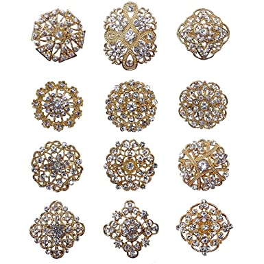 TOOKY 12pcs Wholesale Lot Gold Silver Crystal Button Brooches Scarves Buckle Brooch Collar Pin Rhinestone Corsage Bouquet Kit DIY snj5U