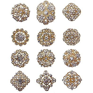 2c3425f071 L'VOW 12px Silver Gold Plated Crystal Brooches Flower Floriated Brooch  Collar Pin Rhinestone Corsage Bouquet Décor