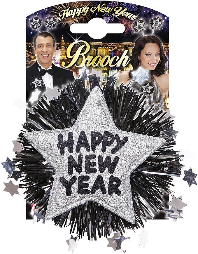 WIDMANN Argento Spilla Happy New Year Unisex-Adult VD-WDM7892S Taglia Unica