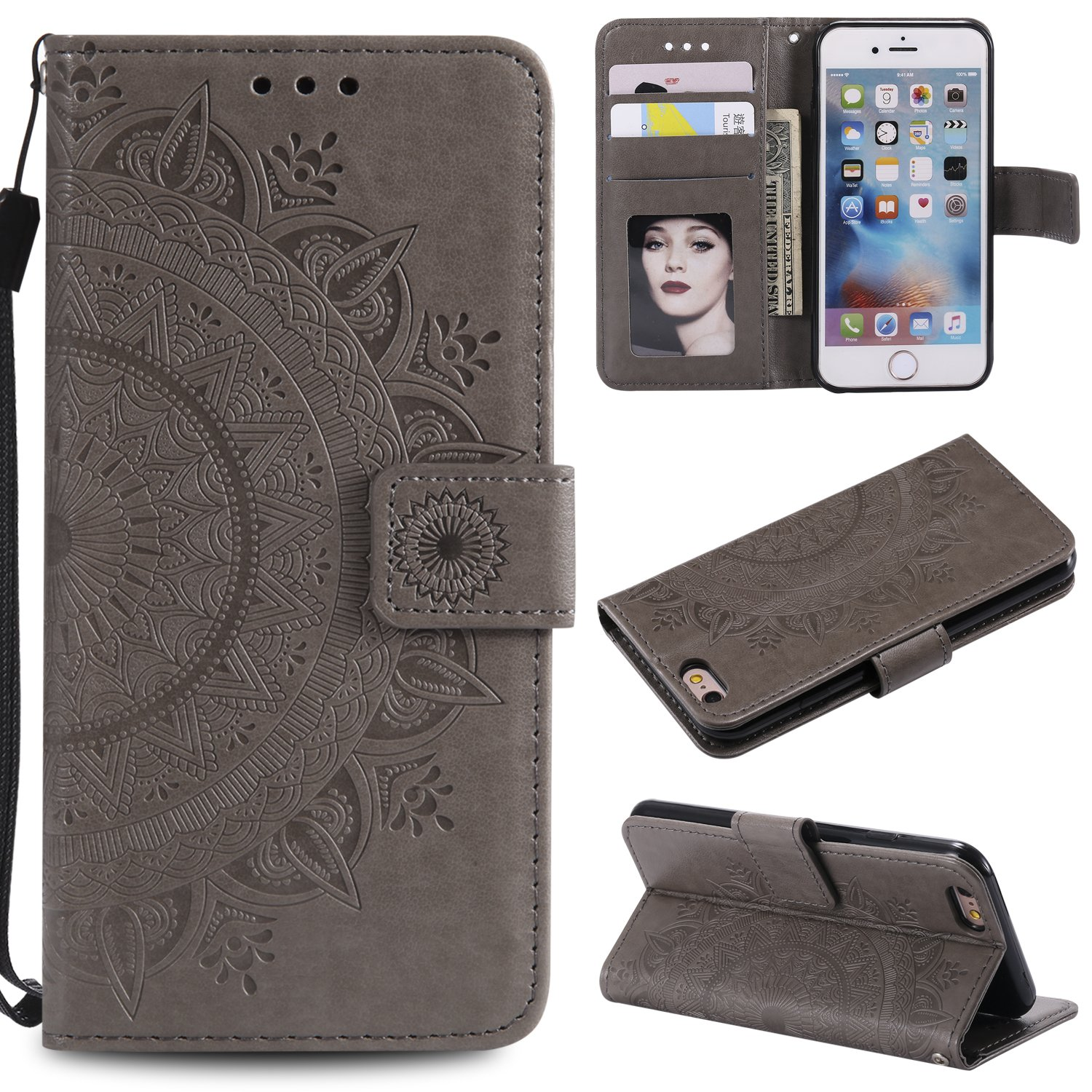 Floral Wallet Case for iPhone 6S 4.7'',Strap Flip Case for iPhone 6 4.7'',Leecase Embossed Totem Flower Design Pu Leather Bookstyle Stand Flip Case for iPhone 6S/6 4.7''-Grey