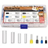 Ruikarhop 390pcs AWG (2 4 6 8 10 12 14 16) Wire Ferrules Kits Crimp Terminal Connector Sleeves