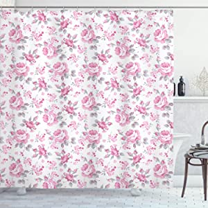 "Ambesonne Shabby Flora Shower Curtain, Pink Roses with Grey Leaves Garden Bedding Plants Spring Blossoms, Cloth Fabric Bathroom Decor Set with Hooks, 70"" Long, Light Pink"