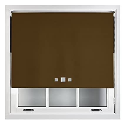 Quality Blind Brown 60cm x 165cm FREE Cut to Size Furnished Blackout Roller Blind with Triple Square Eyelets