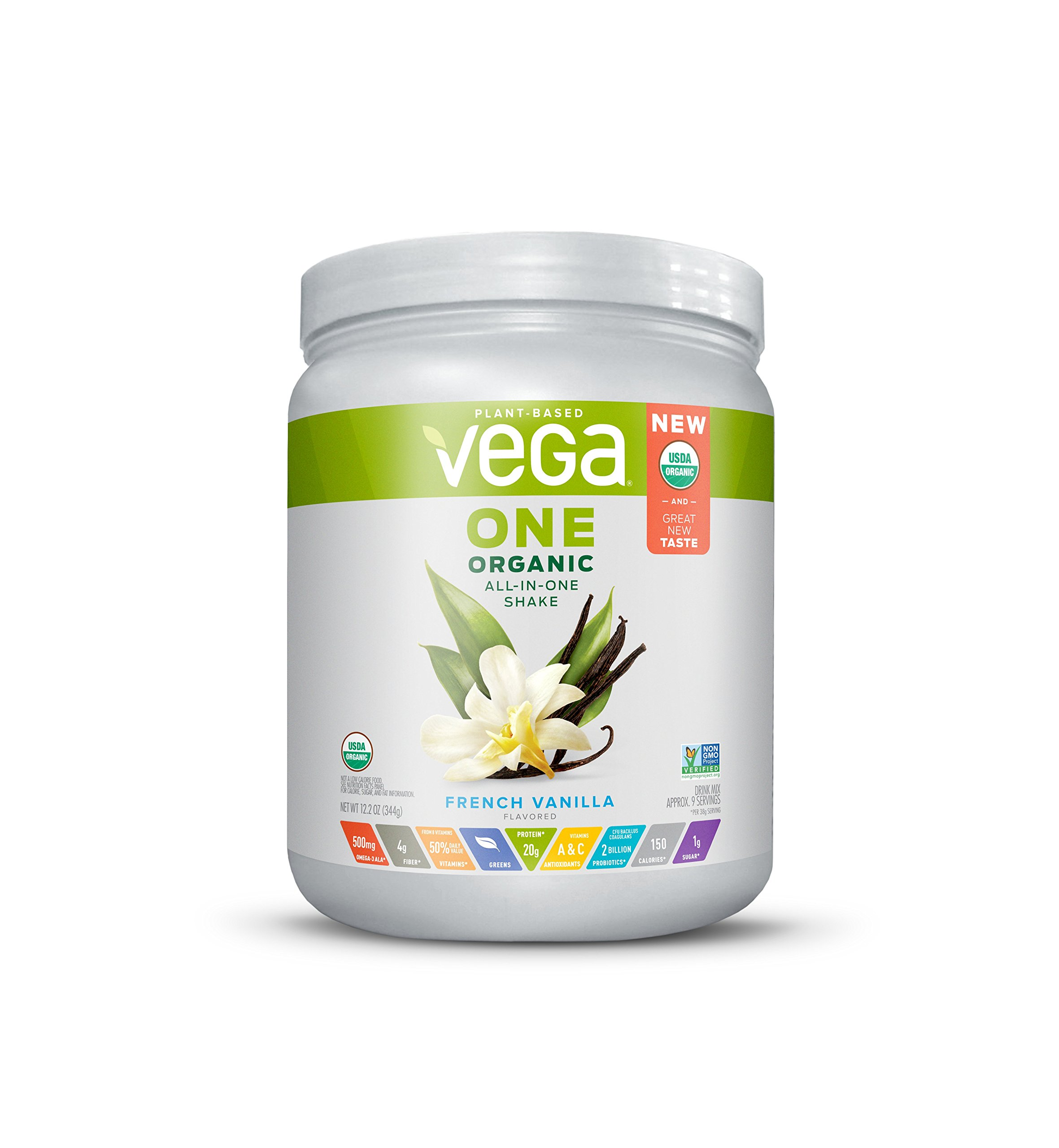 Vega One Organic Plant Protein Powder French Vanilla 12.2 Ounce - Plant Based Vegan Protein Powder, Non Dairy, Gluten Free, Non GMO by VEGA