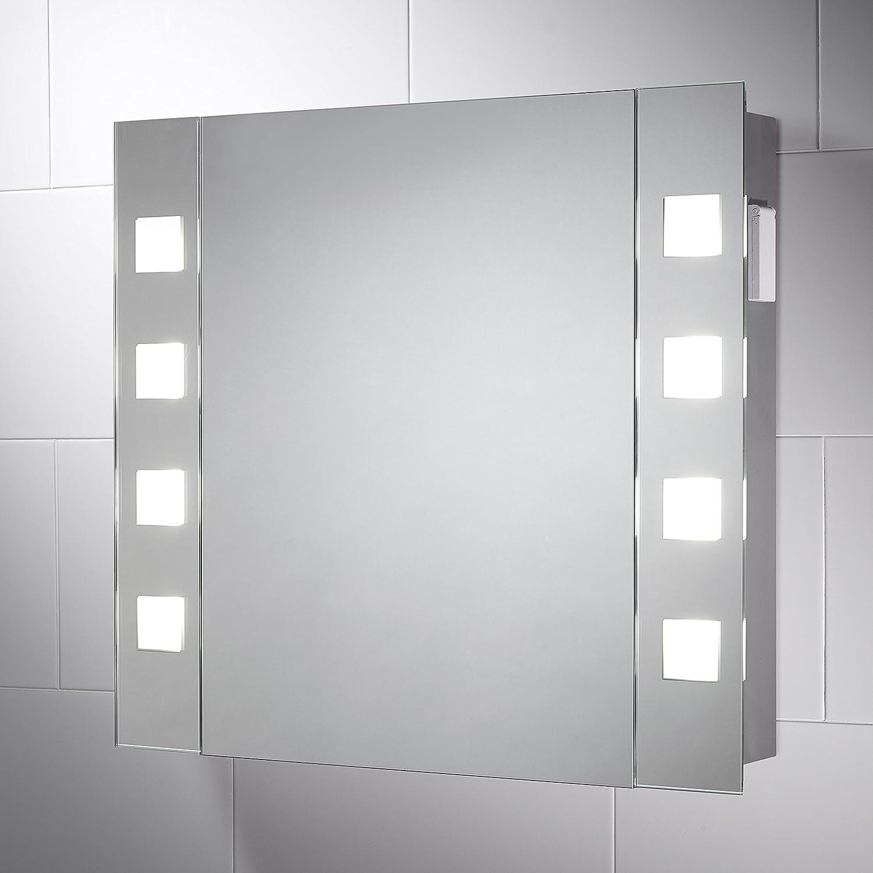 Pebble Grey 600 x 650 mm LED Illuminated Bathroom Cabinet Mirror ...