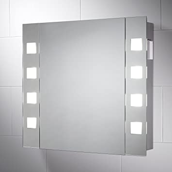 Pebble Grey 600 X 650 Mm LED Illuminated Bathroom Cabinet Mirror Pyrus Wall  Mounted Mirror Cabinet