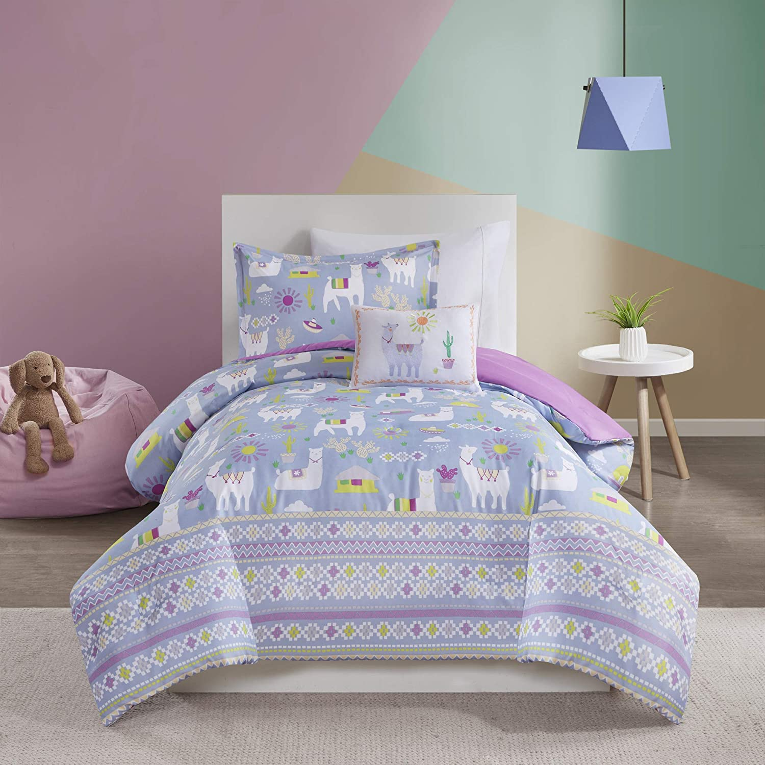 Mi Zone Kids Andes Comforter Cute Llama Cactus House Printed Striped Embroidered Pillow Ultra-Soft Overfilled Down Alternative Hypoallergenic All Season Bedding-Set, Full/Queen, Lavender