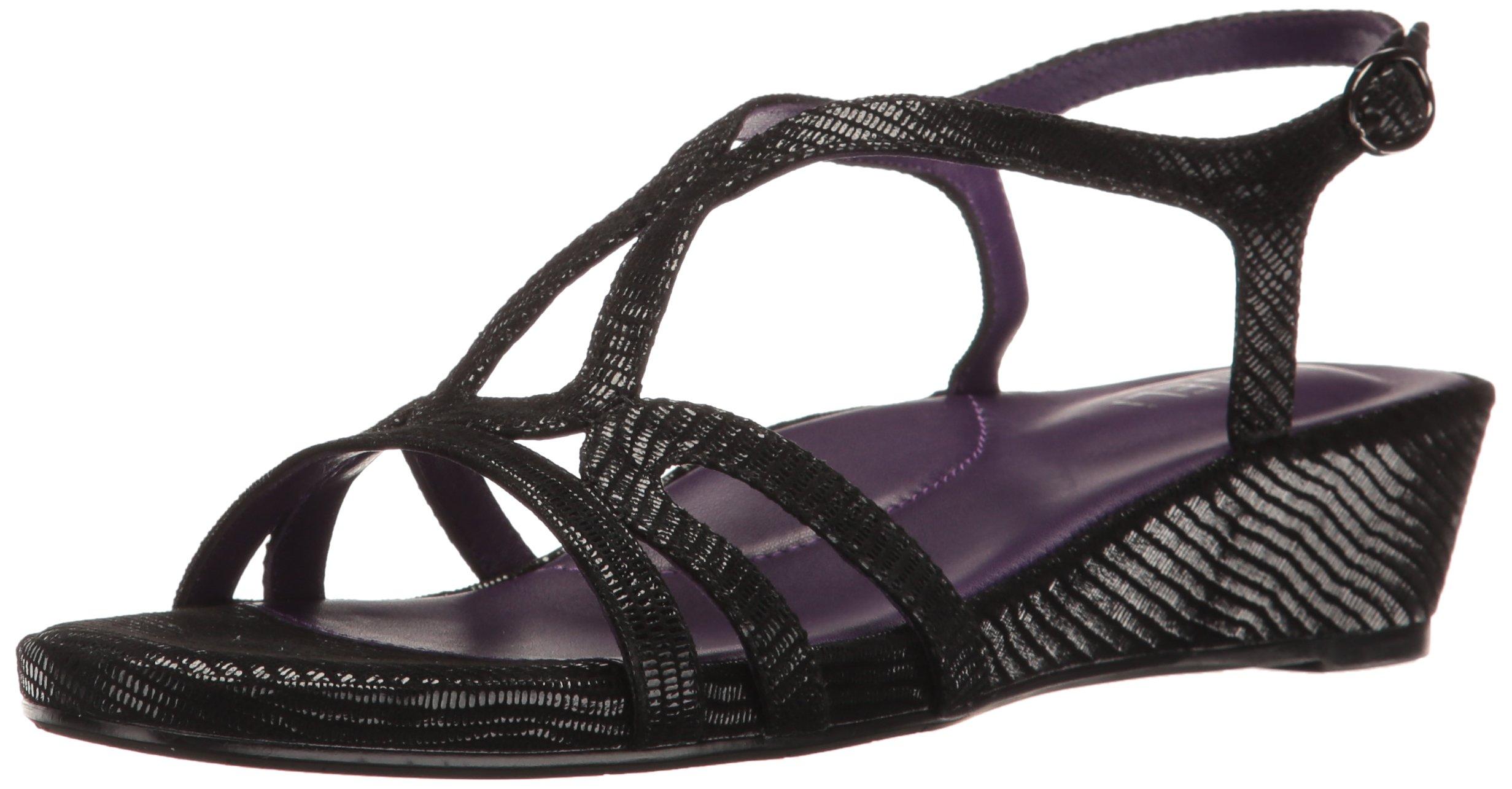 VANELi Women's Daffy Wedge Sandal, Black Miniliz Print/Gunmetal Buckle, 11 M US