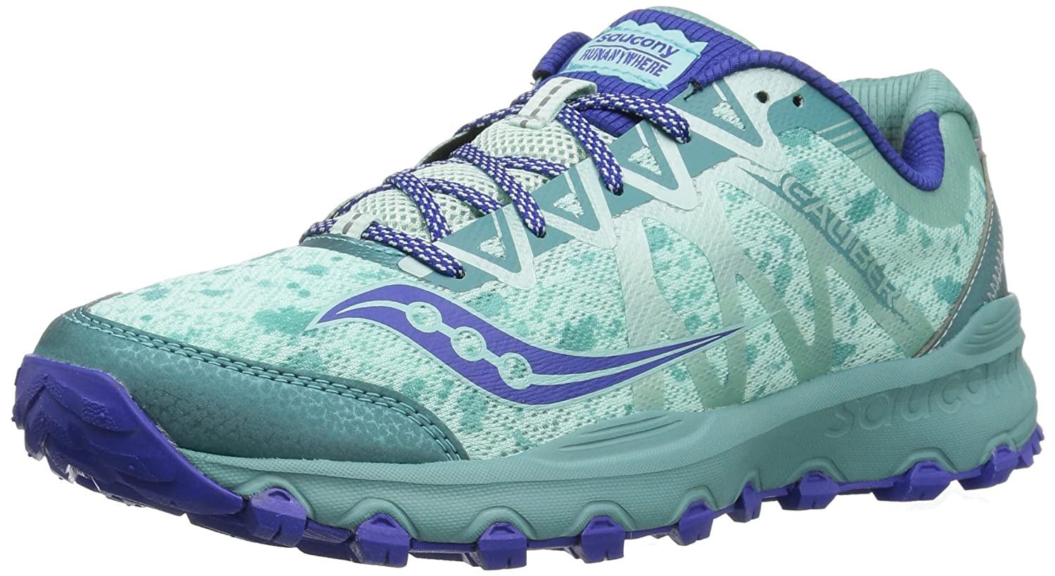Saucony Women's Grid Caliber TR Trail Runner Shoe B01HXGU2DI 6.5 B(M) US|Mint/Blue