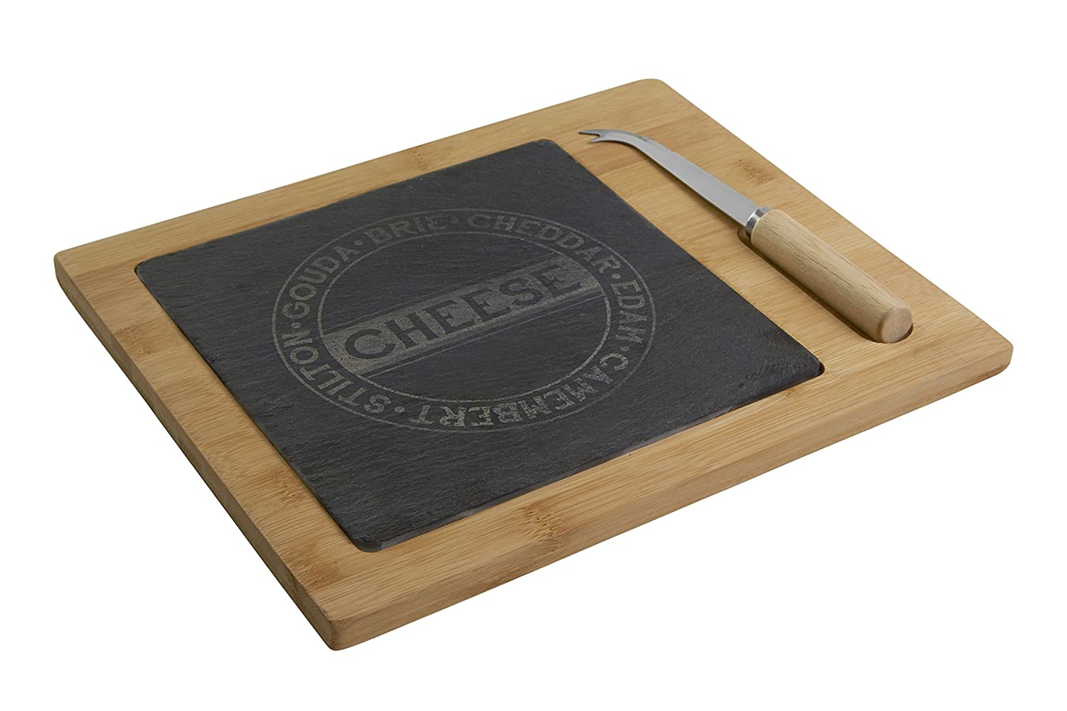 Premier Housewares Slate/Bamboo Cheese Set, Natural/Grey, 2-Piece 1403239 1403239_Negro-w30xd25xh3cm