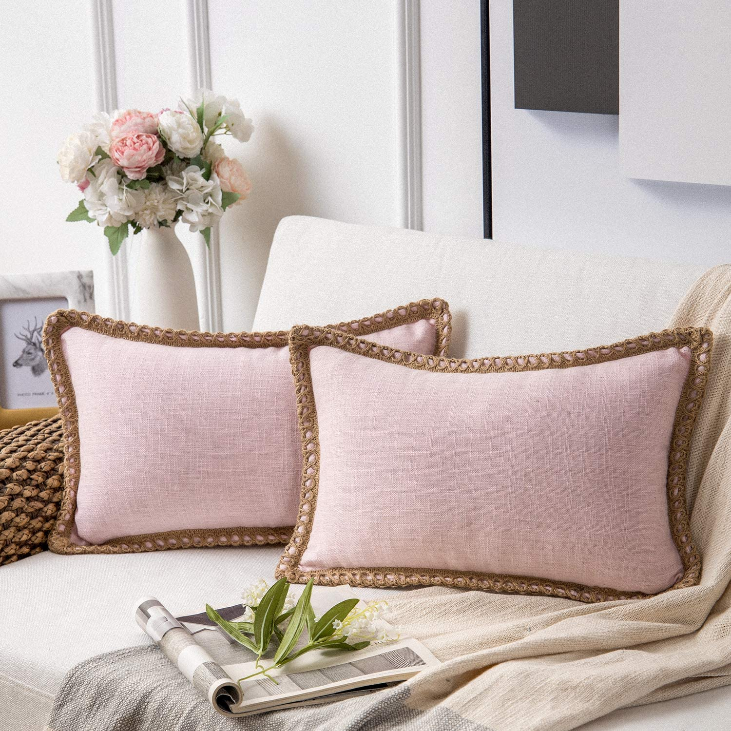Phantoscope Pack of 2 Farmhouse Decorative Throw Pillow Covers Burlap Linen Trimmed Tailored Edges Light Pink 12 x 20 inches, 30 x 50 cm