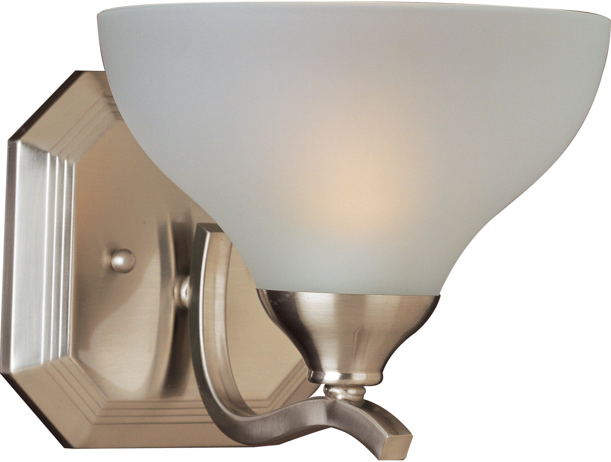 Maxim 21271FTSN Contour 1-Light Wall Sconce Bath Vanity, Satin Nickel Finish, Frosted Glass, MB Incandescent Bulb , 100W Max., Dry Safety Rating, Standard Dimmable, Glass Shade Material, 2300 Rated Lumens