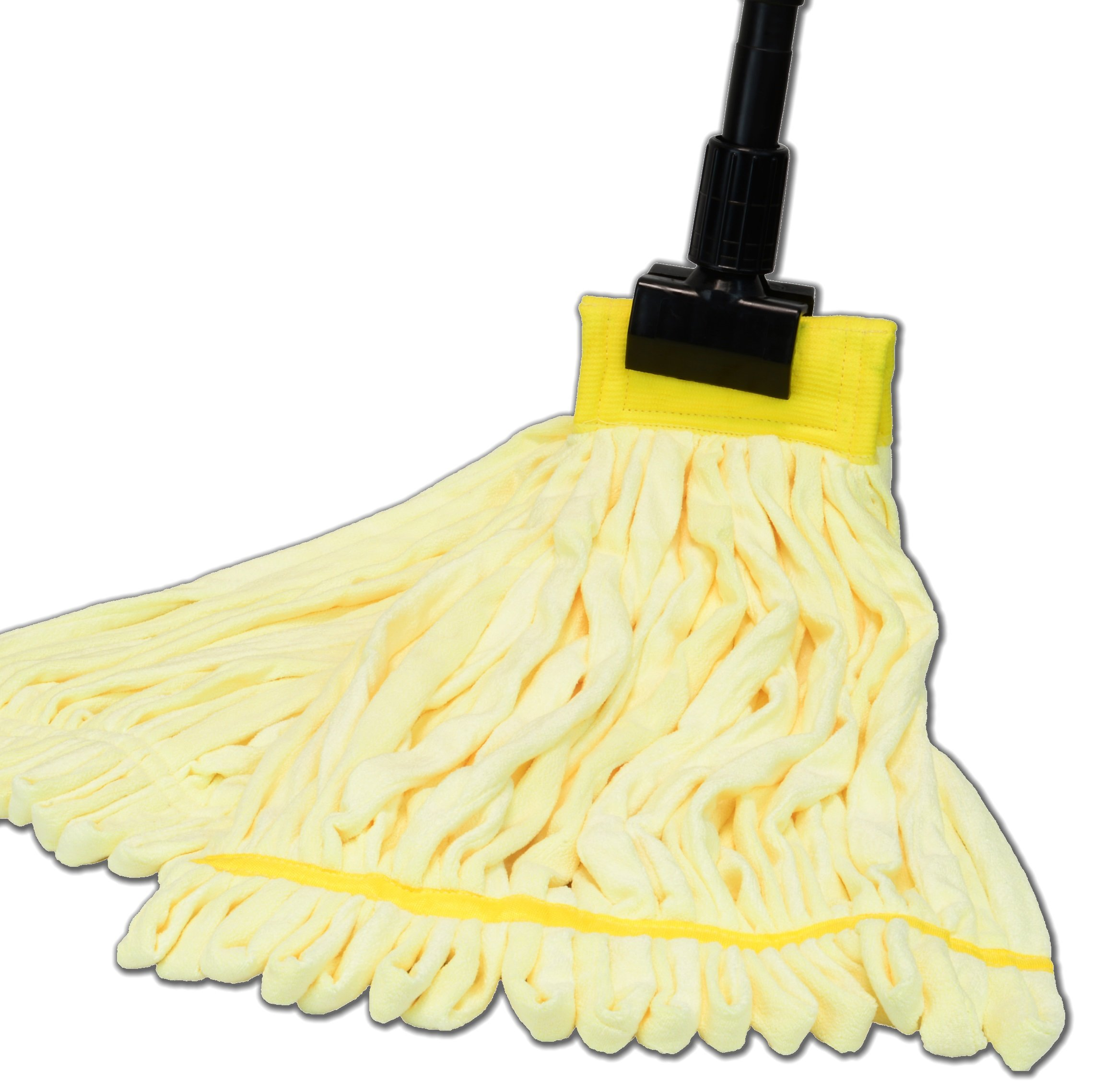 Large Microfiber Tube Mop with Stainless Steel Handle | Industrial Wet Mop | Absorbent and Durable with Great Cleaning Power (Yellow)