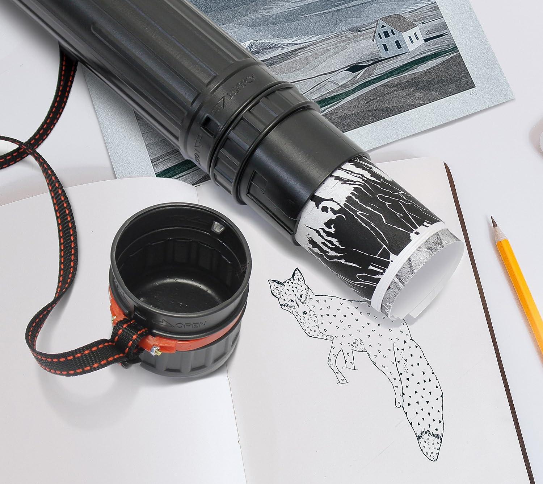 Black Plastic Telescoping Artwork and Portfolio Storage Transit Tube w//Nylon Carrying Strap 2 Pack