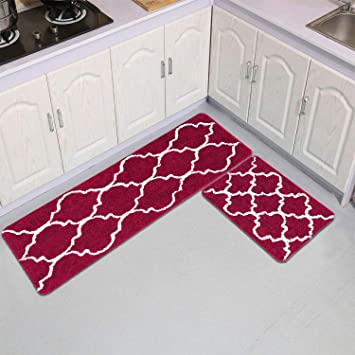 Area Rugs Kitchen Mats Moroccan Trellis Burgundy Red Kitchen Runner Rugs  Soft Bath Rugs Set of 2 No-Slip Indoor Outdoor Mat 17 × 48 Inches and 17 ×  24 ...