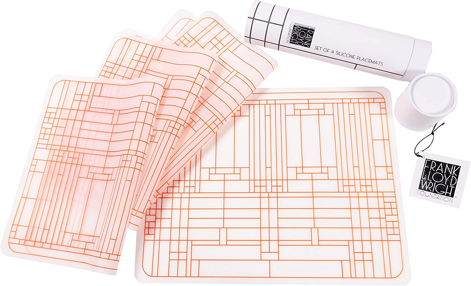 KAF Home Frank Lloyd Wright Oak Park Silicone Placemats 17 x 13-inch (Set of 4)