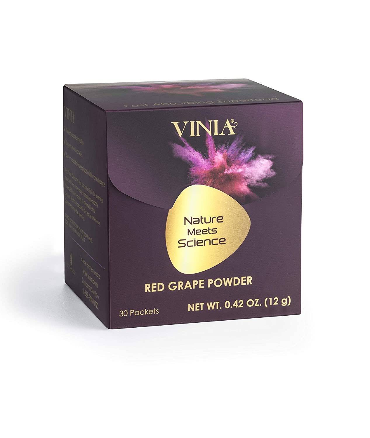 Red Grape Powder by Vinia Natural Heart Health Reservatrol Supplement, Helps Maintain Support Blood Pressure Already Within Normal Range, Antioxidant, Alcohol-Free Improves Blood Circulation