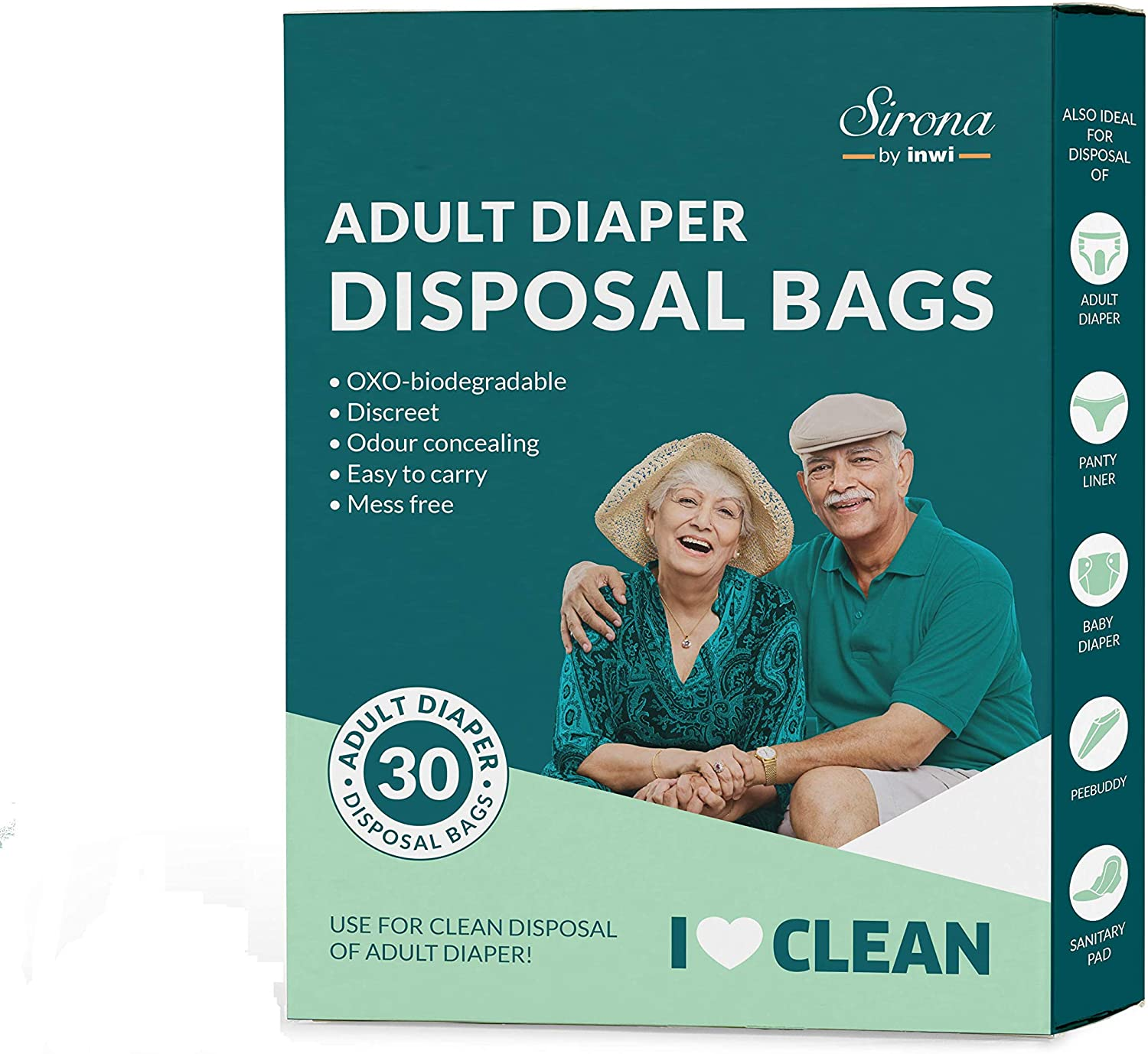 Sirona Premium Adult Diaper Disposable Bags - 30 Bags   Odor Sealing for Diapers, Food Waste, Pet Waste, Sanitary Product Disposal   Durable and Unsce