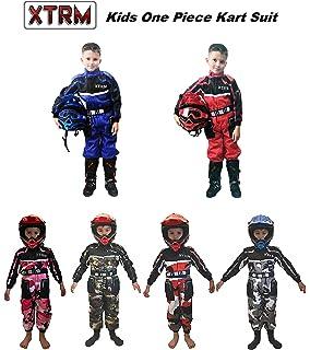 S para Karting//go Kart//Motocross//Dirt Bike Naranja Qtech Mono Completo de una Pieza para ni/ños