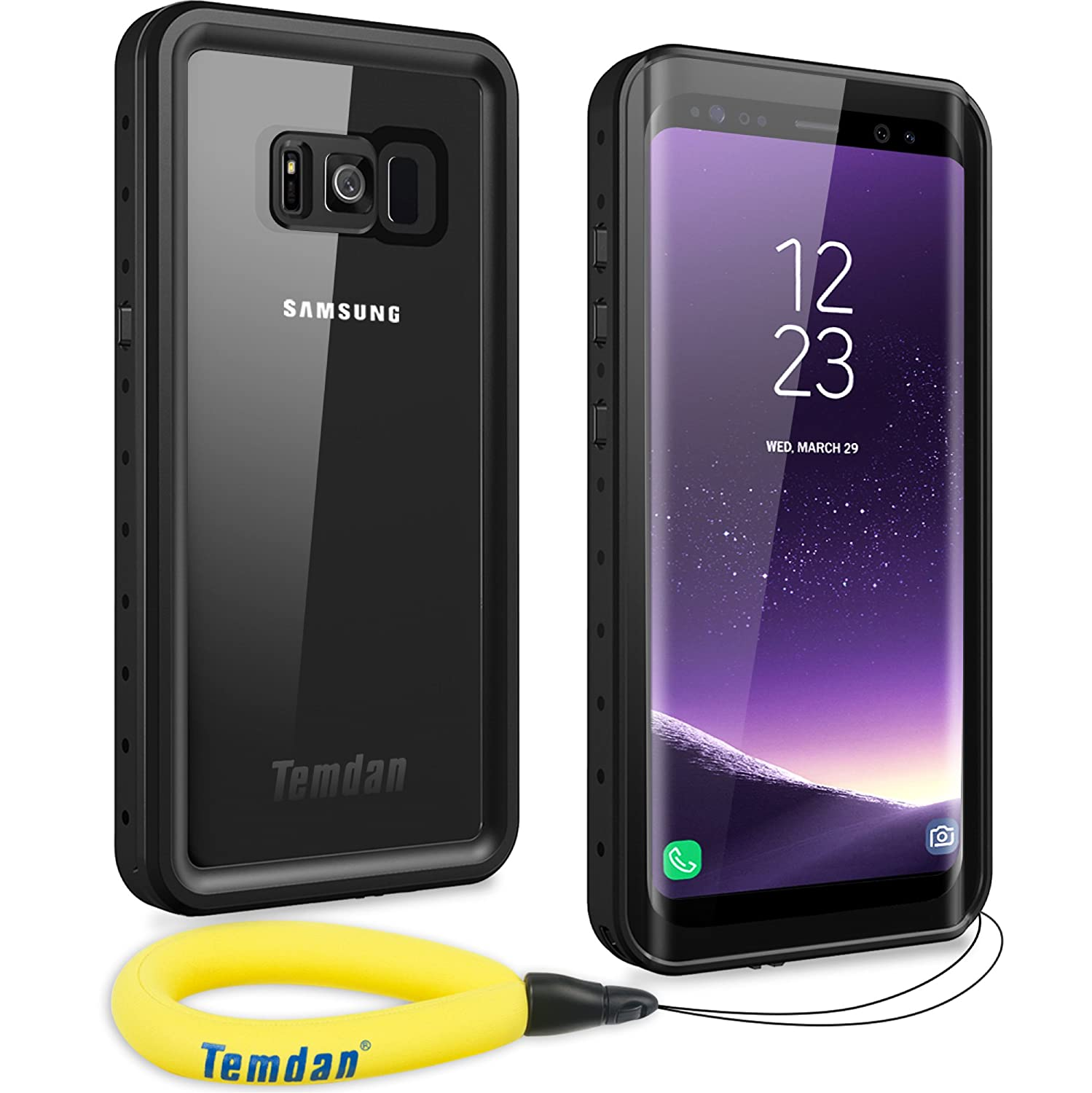 Temdan Samsung Galaxy S8 Waterproof Case Supported Wireless Charging Full-Body Protection Built in Screen Protector with Floating Strap Waterproof Case for Galaxy S8 4326539357