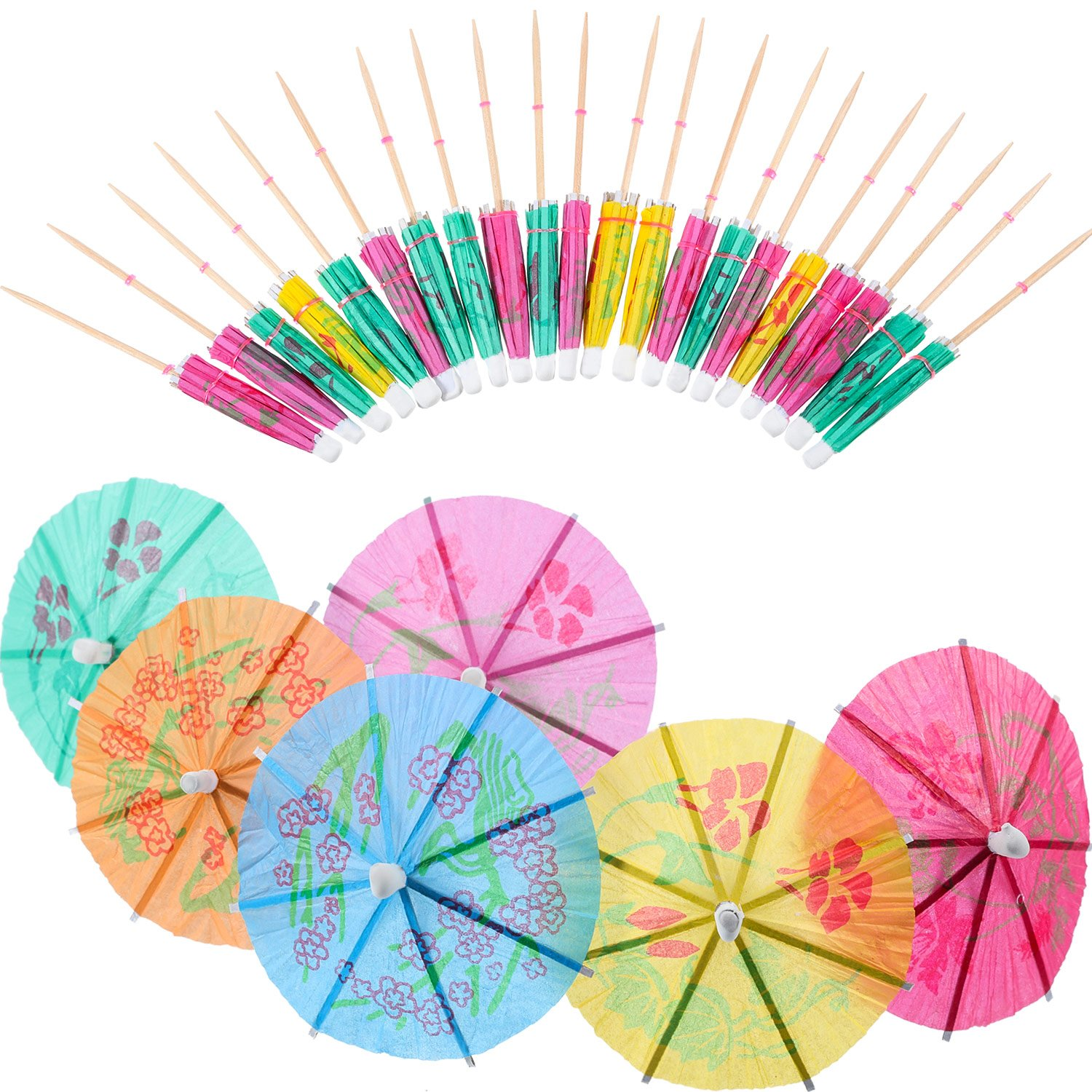 150 Pieces 4 inch Cocktail Umbrellas Parasol Cocktail Picks Cupcake Toppers, Assorted Colors Jovitec