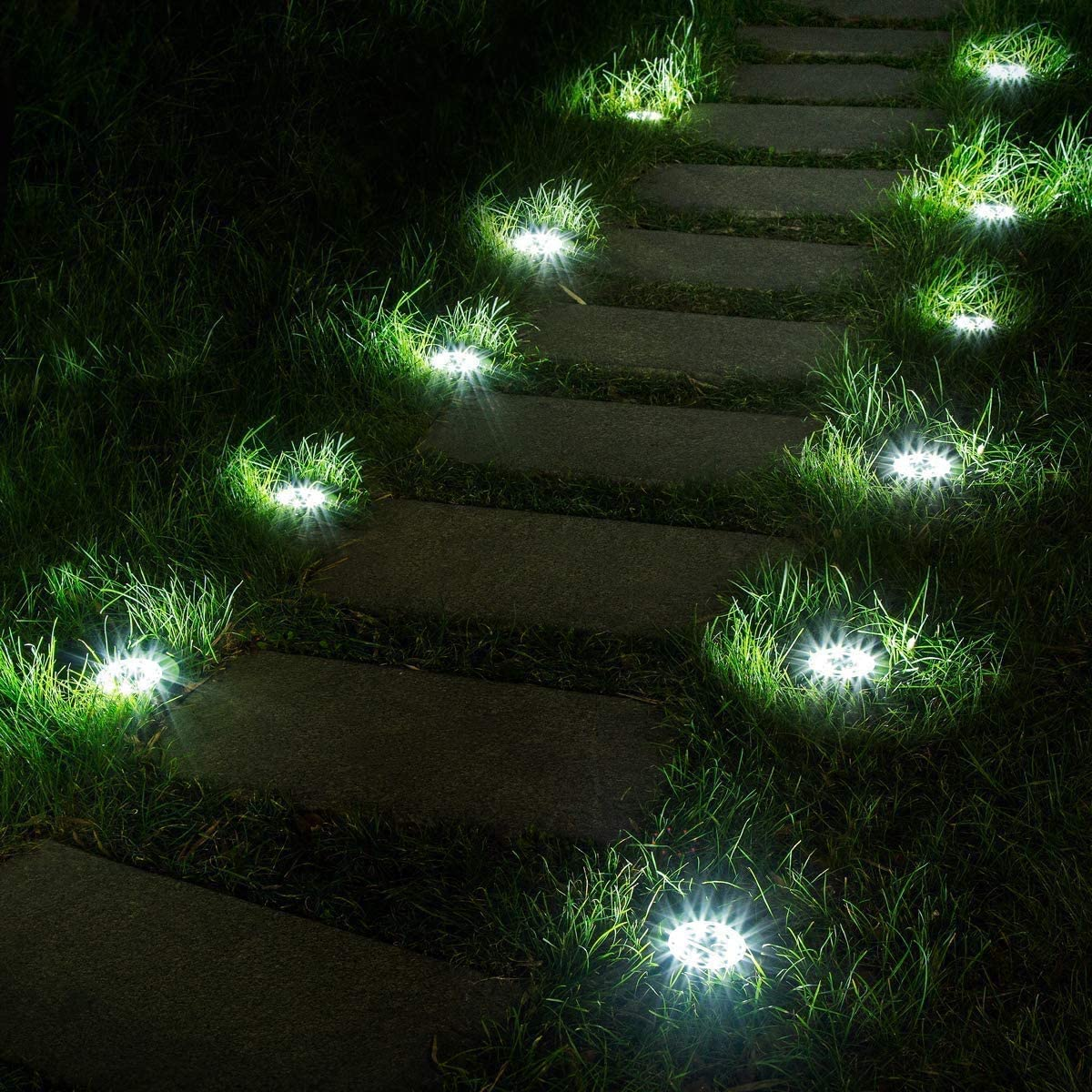 FLOWood Luces Solares para Exterior Patio al Aire Libre Jardín Terraza Camino Césped, Impermeable de Tierra Suelo Luz Blanca Fría, 12 Piezas: Amazon.es: Iluminación