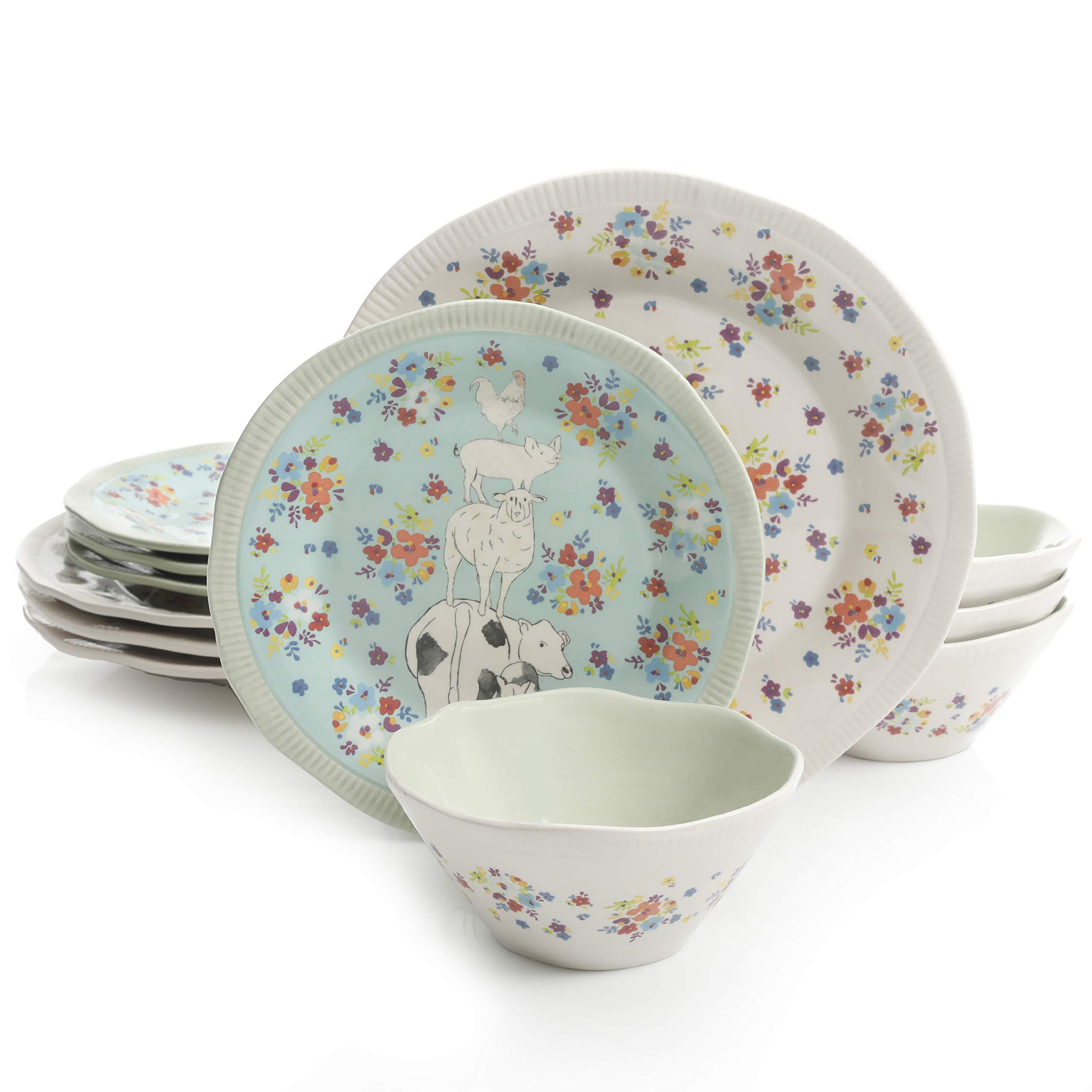 Urban Market by Gibson 99869.12RM Life on the Farm 12pc dinnerware set, Blue/White by Urban Market by Gibson (Image #1)