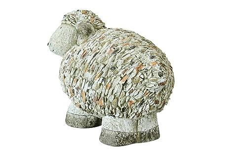 Decoración Jardín Figura oveja 42 x 36 cm mano piedra ...