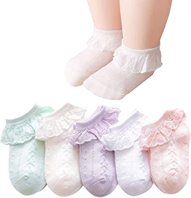 Mini Angel Baby Lace Socks Baby Girl Double/Eyelet Lace Ruffle Frilly Socks for Newborn Infant and toddlers Gift Set